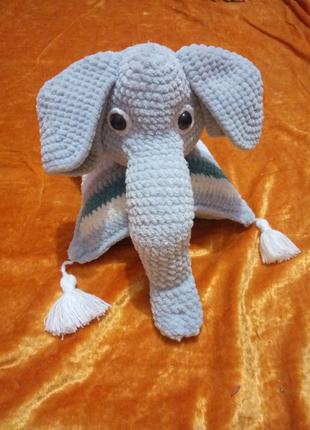 вязаная подушка слон трансформер.