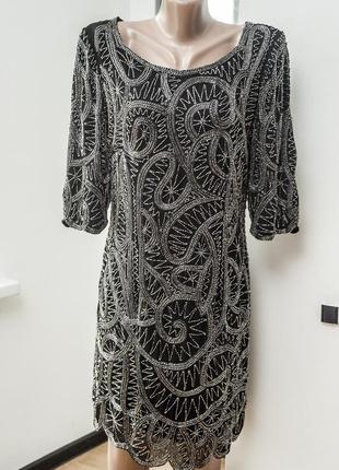 Mango. вечернее платье расшитое бисером, черного цвета на подк...