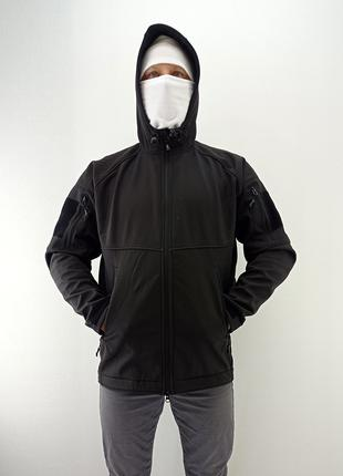 Тактическая куртка с капюшоном soft shell (black)