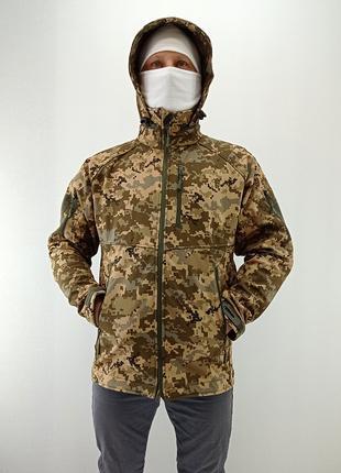 Тактическая куртка с капюшоном soft shell (пиксель)