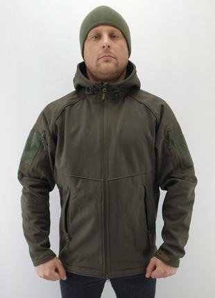 Тактическая куртка с капюшоном soft shell(olive)