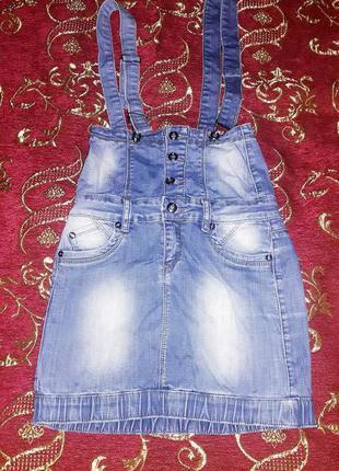 Джинсовый комбинезон-юбка