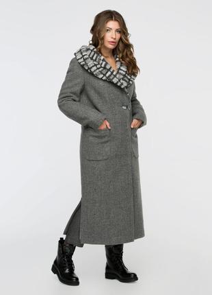 Скидка стильное зимнее серое длинное пальто макси с капюшоном