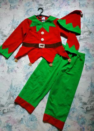 Новогодний костюм эльфа, помощник санты, карнавальный костюм