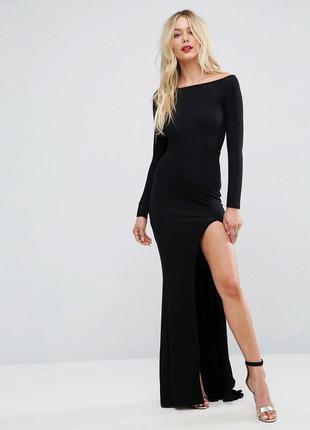 Вискоза, макси длинное черное платье с разрезом, с рукавами, о...