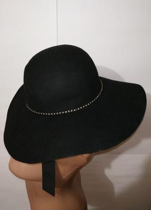 Классическая черная фетровая шерстяная шляпа only размер l,л 1...