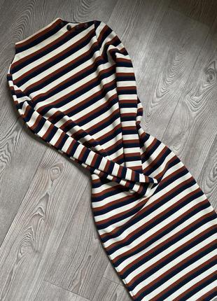 Теплое миди платье в полоску , платье-гольф,