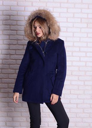 Женская зимняя синяя парка пальто с натуральным мехом енота