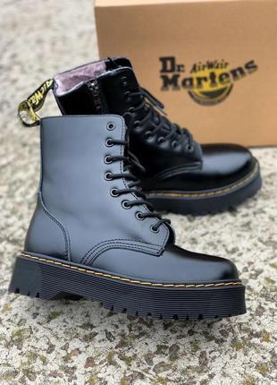 Ботинки dr martens jadon black fur zip женские меховые