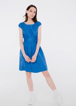 Летнее платье из льна season синее с длинным поясом
