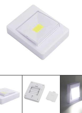 LED світильник лампа вимикач на батарейках 3Вт на магніті, липучц