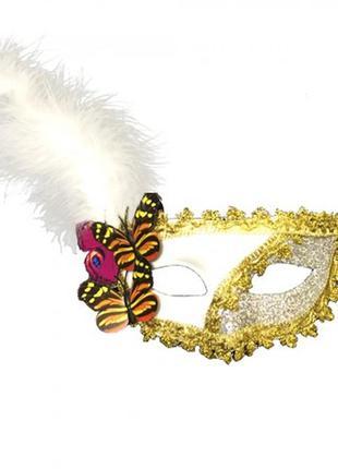 Карнавальная венецианская маска с пером и бабочками