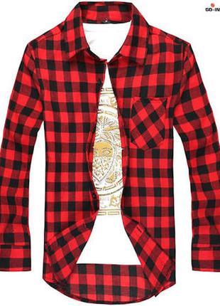 Модная рубашка в клетку приталенная /мужская  /красно-черная/f...