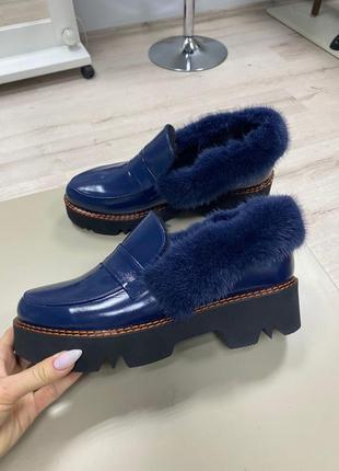 Lux обувь! лоферы с норкой на платформе зима мех цегейка