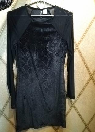 Платье, велюр, бархат, змеиный, черное, сетка, S, H&M, DIVIDED