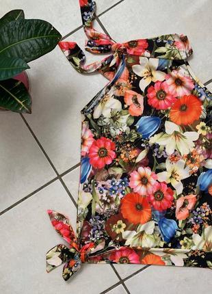 Летний топ майка-блузка с цветочным принтом