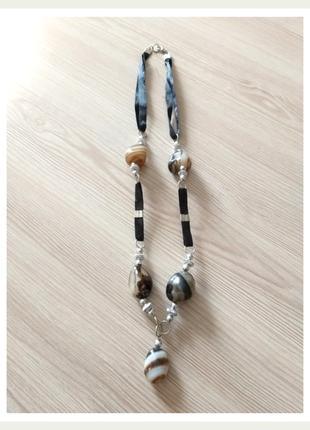 Кулон колье бусы из натурального камня - оникс разноцвет