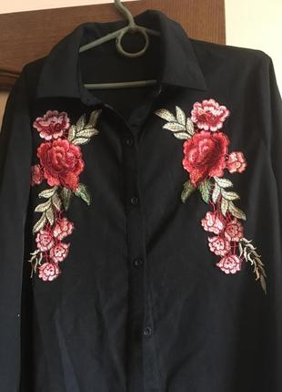 Дизайнерская новая рубашка платье с вышивкой в стиле zara