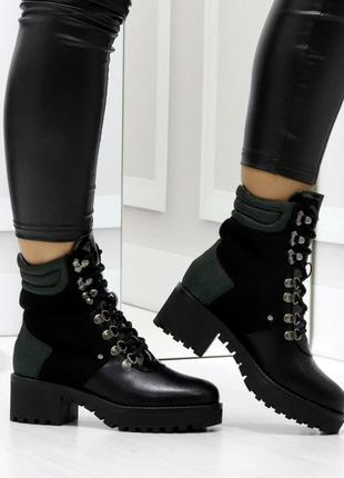 Удобные черные повседневные зимние женские ботинки на низком к...
