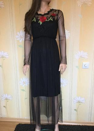 Платье сетка фатин с вышивкой twinkle размер s