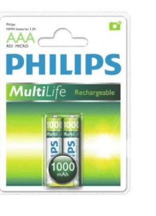 Аккумулятор Philips MultiLife Ni-MH AAA 1000 мАч(2шт)