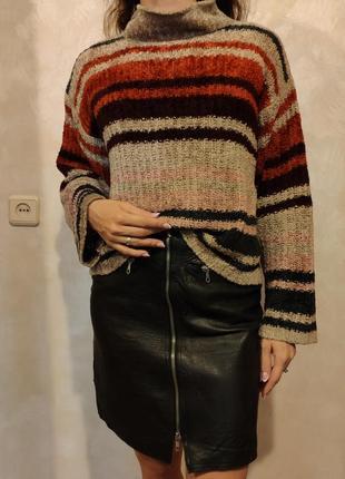 Плюшевый свитер укороченная кофта велюровый бежевая в полоску ...