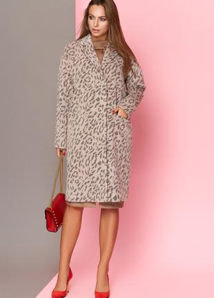 """Пальто шерсть принт леопард xs-2xl  в стиле """"оверсайз"""" (свобод..."""