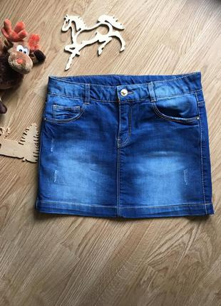 Красивая джинсовая юбка на девочку 11-12 лет, zara