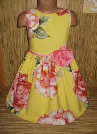Нарядное платье на 6 лет с рисунком цветы