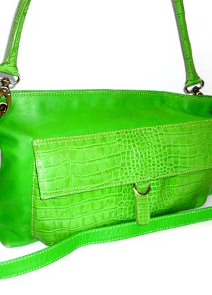 Кожаная сумка зеленая сумка
