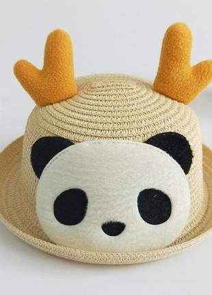 """Шляпа летняя для девочки """"панда"""""""