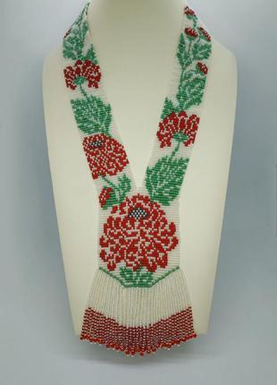 """Белый гердан с црасными цветами """"хризантема"""""""