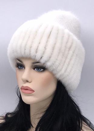 Норковая женская зимняя шапка ангора