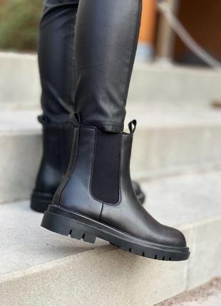 Женские кожаные зимние ботинки bottega veneta chelsea mid fur ...