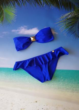 Синий купальник бандо
