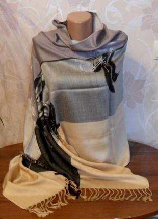 Серо-бежевый палантин шарф шелк с шерстью pashmina
