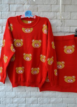 Теплый костюм Moschino Мишки юбка свитер