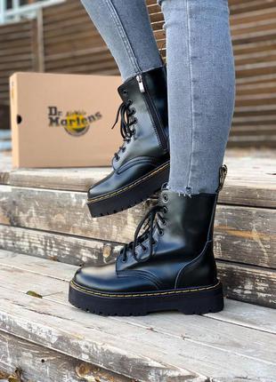 Женские кожаные зимние ботинки dr.martens jadon black черного...