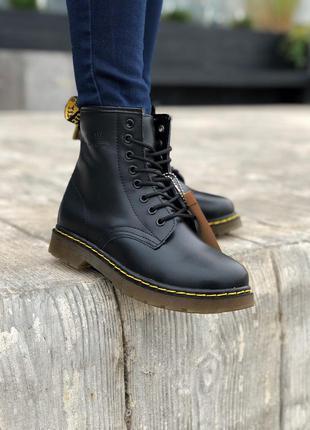 Женские кожаные зимние ботинки dr.martens 1460 black черного ц...