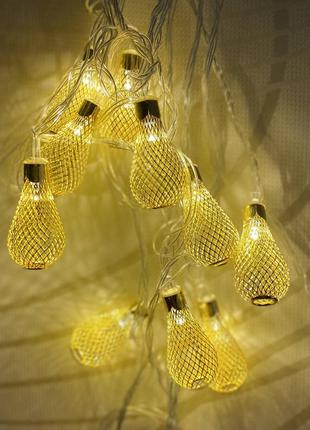 "Гирлянда ""золотые капли"" 20 led, цвет теплый белый к. 1671-07"