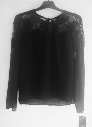 Нарядная черная блуза шифон италия