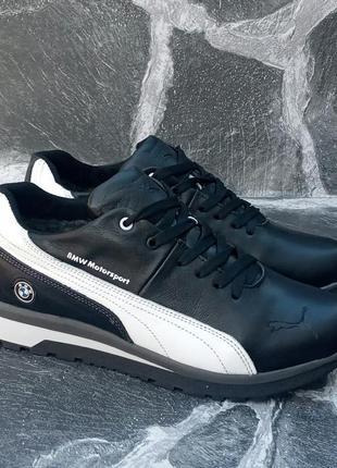 Мужские зимние ботинки puma classic winter boots,черные,кожаные