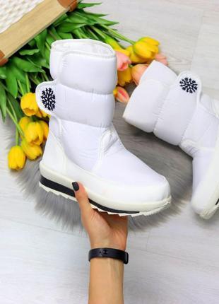 Удобные повседневные текстильные женские ботинки дутики на лип...