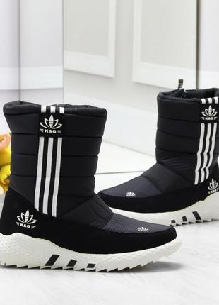 Удобные повседневные спортивные черные женские ботинки дутики ...