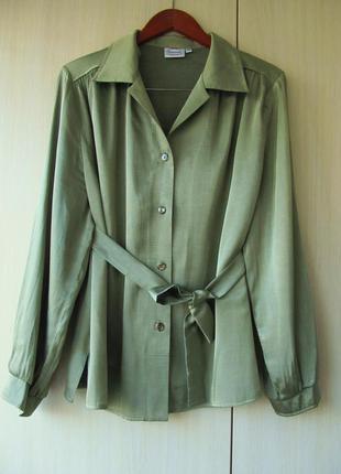 Атласная блуза хаки с поясом / 4xl / plus size