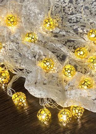 """Гирлянда """"золотые шарики"""" 40 led, цвет теплый белый к. 1665-07"""