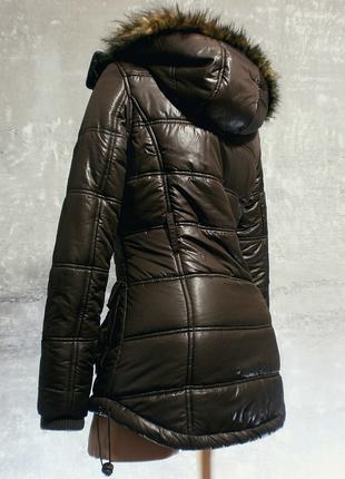Теплая курточка-парка кофейного цвета деми - only