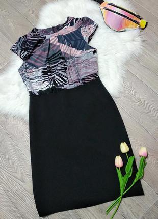 Женское платье -карандаш с шифоновым верхом деловое ниже колен...