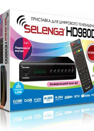 Ресивер DVB-T2/C Selenga HD980D с кабельным тв и интернет