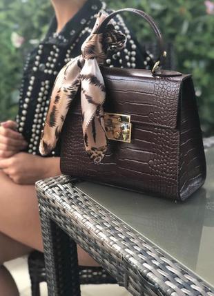 Кожаная сумка с платком италия шокладная женская сумка шоколад